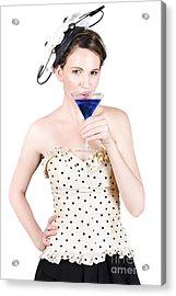 Young Woman Drinking Alcoholic Beverage Acrylic Print