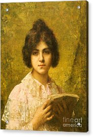 Young Woman Holding A Book Acrylic Print by Alexei Alexevich Harlamoff