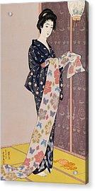 Young Woman In A Summer Kimono Acrylic Print by Goyo Hashiguchi