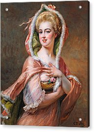 Young Woman In Cape Acrylic Print by Cesare Detti