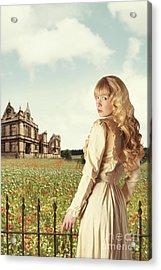 Young Woman In English Countryside Acrylic Print by Amanda Elwell