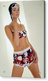 Young Woman In Mod Bikini Acrylic Print by David McCabe