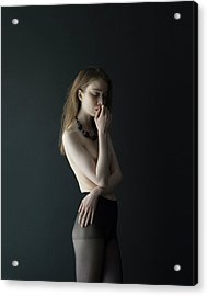 Young Woman In Pantyhose Acrylic Print