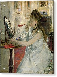Young Woman Powdering Her Face Acrylic Print by Berthe Morisot
