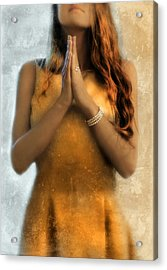 Young Woman Praying Acrylic Print by Jill Battaglia