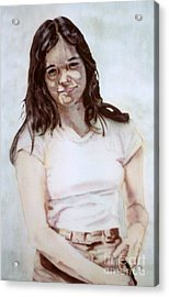 Young Woman Acrylic Print by Ron Bissett