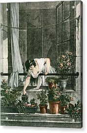 Young Woman Watering Plants Acrylic Print by Vintage Design Pics