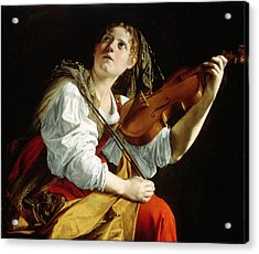 Young Woman With A Violin Acrylic Print by Orazio Gentileschi
