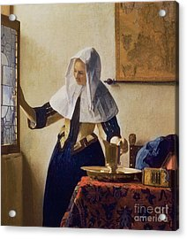 Young Woman With A Water Jug Acrylic Print by Jan Vermeer