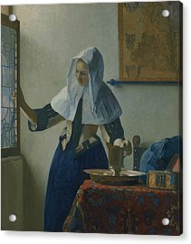 Young Woman With A Water Pitcher  Acrylic Print by Jan Vermeer