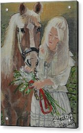 Young Woman With Horse Acrylic Print