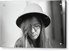 Young Woman With Long Hair, Wearing A Pith Helmet, 1972 Acrylic Print