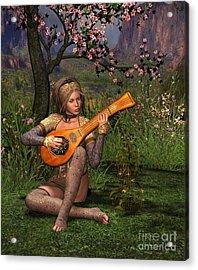 Young Women Playing The Lute Acrylic Print by John Junek