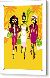 Young Women With Shopping Bags Acrylic Print