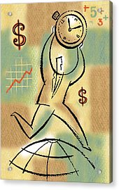 Acrylic Print featuring the painting Your Income by Leon Zernitsky