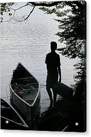 Youth With Canoe Acrylic Print by Jim DeLillo