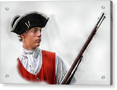 Youthful Soldier With Musket Acrylic Print by Randy Steele