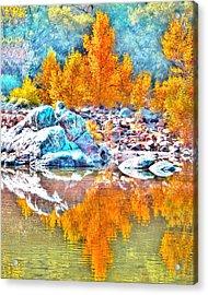 Yuba River Fall Reflection Acrylic Print by William Havle