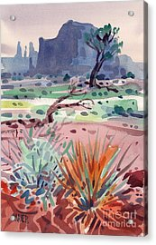 Yucca And Buttes Acrylic Print by Donald Maier