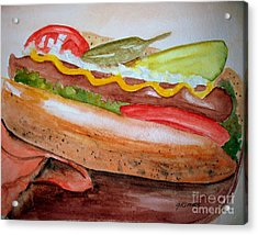 Yummy Chicago Dog Acrylic Print