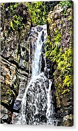 Yunque Waterfall Acrylic Print by Carey Chen