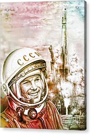 Yuri Gagarin - Cosmonaut 1961 Watercolor Acrylic Print