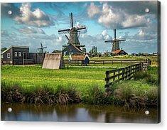 Zaanse Schans And Farm Acrylic Print by James Udall