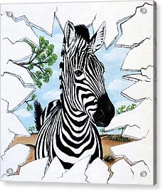 Acrylic Print featuring the painting Zany Zebra by Teresa Wing