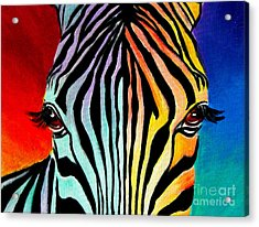 Zebra - End Of The Rainbow Acrylic Print