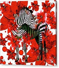 Zebra And Flowers Acrylic Print by Saundra Myles