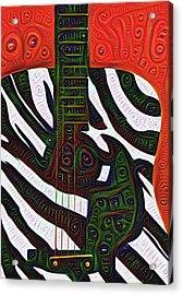 Zebra Guitar Rendering Acrylic Print by Bill Cannon