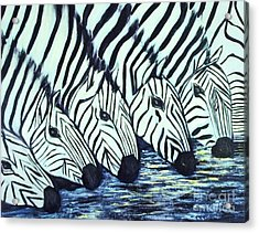 Acrylic Print featuring the painting Zebra Line by Donna Dixon