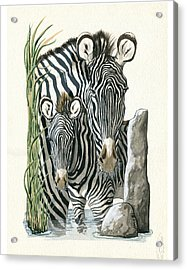 Zebra Mother And Colt Protect Our Children Painting Acrylic Print by Linda Apple
