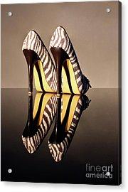 Zebra Print Stiletto Acrylic Print by Terri Waters