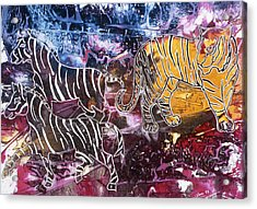 Acrylic Print featuring the painting Zebra by Sima Amid Wewetzer