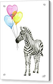 Zebra Watercolor Baby Animal With Balloons Acrylic Print by Olga Shvartsur