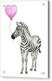 Zebra Watercolor Whimsical Animal With Balloon Acrylic Print