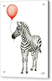 Zebra With Red Balloon Whimsical Baby Animals Acrylic Print by Olga Shvartsur