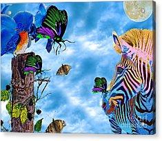 Zebras Birds And Butterflies Good Morning My Friends Acrylic Print by Saundra Myles