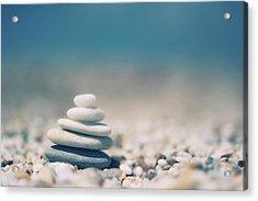 Zen Balanced Pebbles At Beach Acrylic Print by Alexandre Fundone