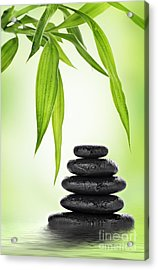Zen Basalt Stones And Bamboo Acrylic Print by Pics For Merch