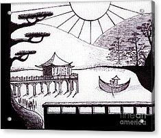 Zen Lake Original Black Ink On White Canvas By Ricardos Acrylic Print by Ricardos Creations