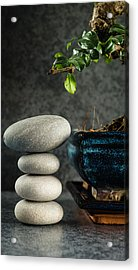 Zen Stones And Bonsai Tree Acrylic Print by Marco Oliveira