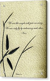 Zen Sumi 4d Antique Motivational Flower Ink On Watercolor Paper By Ricardos Acrylic Print