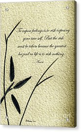 Zen Sumi 4m Antique Motivational Flower Ink On Watercolor Paper By Ricardos Acrylic Print