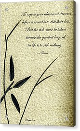 Zen Sumi 4n Antique Motivational Flower Ink On Watercolor Paper By Ricardos Acrylic Print