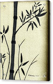 Zen Sumi Antique Bamboo 1a Black Ink On Fine Art Watercolor Paper By Ricardos Acrylic Print