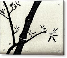 Zen Sumi Antique Bamboo 2a Black Ink On Fine Art Watercolor Paper By Ricardos Acrylic Print by Ricardos Creations