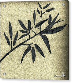 Zen Sumi Antique Botanical 4a Ink On Fine Art Watercolor Paper By Ricardos Acrylic Print