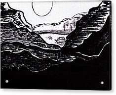 Zen Sumi Midnight Mountain Lake Original Black Ink On White Canvas By Ricardos Acrylic Print by Ricardos Creations
